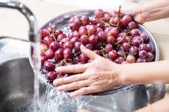 L'uva di lavaggio della mano del ` s della persona con acqua corrente nella famiglia sin Fotografia Stock Libera da Diritti
