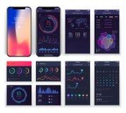 L'ux mobile d'application connecte des calibres de vecteur avec des diagrammes et des diagrammes Collection d'ui de Smartphone illustration libre de droits