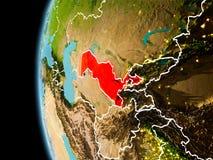 L'Uzbekistan da spazio nella sera Immagini Stock Libere da Diritti