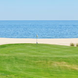L View of the golf course to the sea. Portugal, Algarve. Beautiful view of the golf course to the sea. Portugal, Algarve Stock Images