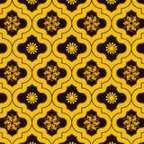 L'or vif a décoré le modèle sans couture marocain avec des conceptions florales mignonnes illustration libre de droits