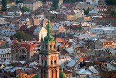 L ` viv, Украина - 21-ое августа 2017: Взгляд над городком l ` viv, Стоковая Фотография RF