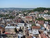 L ` viv ukraine 08 07 2015 Panorama av staden av Lviv Arkivbilder