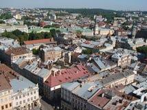 L ` viv ukraine 08 07 2015 Panorama av staden av Lviv Arkivfoton