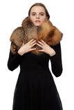 L Woman in black dress with a fur collar Stock Photography