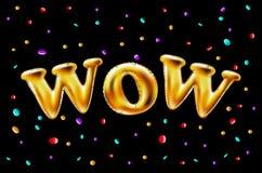 L'or wow monte en ballon le fond pour des bannières de Web, en-tête, boutique Logo, logotype, signe, symbole Ballon d'or des text Image stock