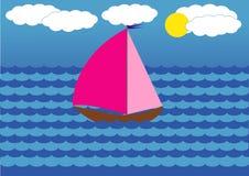 L'yacht con color scarlatto naviga il galleggiamento sul mare Fotografia Stock Libera da Diritti