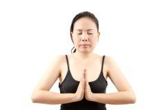 L'yoga femminile asiatica ha isolato. Fotografia Stock Libera da Diritti