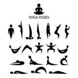 L'yoga posa i simboli Fotografia Stock Libera da Diritti