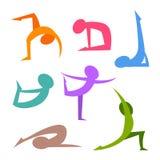 L'yoga posiziona la figura semplice della siluetta Fotografia Stock Libera da Diritti