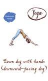 L'yoga sana che allunga la donna fa un cane orientato verso il basso Immagine Stock Libera da Diritti