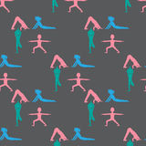 L'yoga scherza il modello senza cuciture Ginnastica per i bambini e lo stile di vita sano Esercitazioni di yoga Classe di yoga, c Fotografia Stock Libera da Diritti