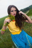 L young girl with long hair in field Royalty Free Stock Images