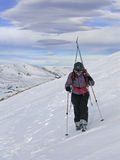 L05 Backcountry Skiing. Earning her turns at 13k' on Loveland Pass Royalty Free Stock Photo