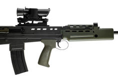L85 british assault rifle 2. This is a perfect plastic replica (airsoft) of a popular assault rifle Royalty Free Stock Image