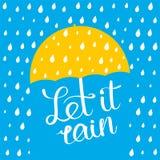 Laßt ihm Plakat regnen stock abbildung
