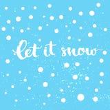 Laßt ihm schneien - Winterkarte mit weißen Schnee und der Hand Stockbilder