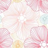 Laço cor-de-rosa Teste padrão sem emenda Flores estilizados Fundo da flor Botão grande brilhante Imagens de Stock Royalty Free