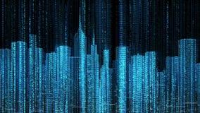 Laço da órbita da mosca do código de dados do computador da skyline da cidade ilustração royalty free