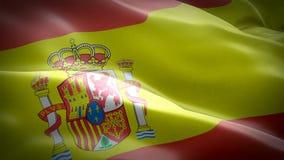 Laço da onda da bandeira da Espanha que acena no Madri do vento Fundo espanhol realístico da bandeira Metragem completa do clos