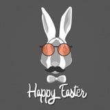 Laço de Bunny Hipster Style Mustache Glasses do coelho do feriado da Páscoa ilustração royalty free
