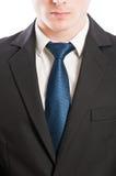Laço do homem de negócio, colar branco e terno preto Foto de Stock