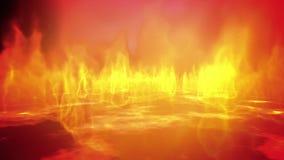 Laço do inferno do fogo com relâmpagos e bola de fogo ilustração stock