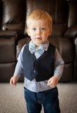 Laço do menino da criança e veste vestindo do terno fotografia de stock royalty free