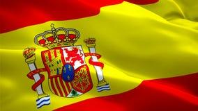 Laço do movimento da bandeira da Espanha que acena nas imagens de vídeo HD completo do vento Fundo espanhol realístico da band