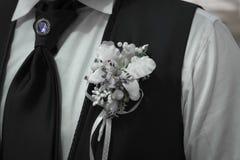 Laço e broche do Boutonniere do noivo Fotografia de Stock Royalty Free
