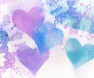 Laço e corações do vintage da textura do fundo. Fotos de Stock