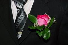 Laço, flor, terno Fotografia de Stock