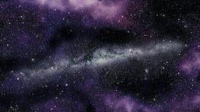 Laço infinito da viagem espacial com uma galáxia estrelado da Via Látea e um fundo cor-de-rosa da nebulosa filme