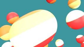 Laço líquido das bolas de flutuação, fundo ciano filme