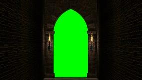Laço medieval da porta com tela verde filme