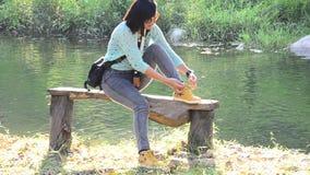 Laço que tailandês da mulher uma corda calça filme