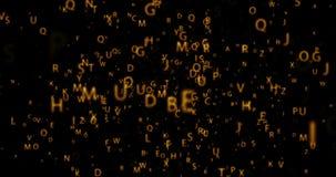 Laço sem emenda da animação da órbita de Digitas com letras douradas no fundo preto ilustração do vetor