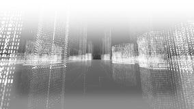 Laço sem emenda da cidade futurista do holograma da matriz Constru??es de Digitas com part?culas ilustração stock