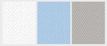 Laço tirado mão Mesh Vetora Pattern Set 3 várias cores ilustração stock
