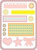 Laços, botões, fatias da tela Imagens de Stock