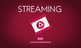 Lać się Audio Wideo Słuchającego Multimedialnego pojęcie ilustracja wektor
