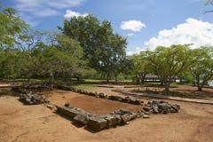 La伊莎贝拉定居点废墟在普拉塔港,多米尼加共和国 图库摄影