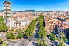 La兰布拉步行购物中心,巴塞罗那,卡塔龙尼亚鸟瞰图, 图库摄影