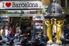 La兰布拉街散步-巴塞罗那 库存图片
