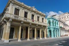 从La哈瓦那中心,牛奶店古巴人生活的街道视图 免版税库存照片