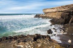 La在费埃特文图拉岛西海岸的被削去的海滩 免版税库存图片