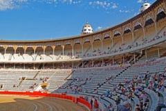 La巨大的竞技场内部视图,巴塞罗那,卡塔龙尼亚,西班牙 免版税库存图片