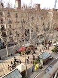 La的兰布拉,巴塞罗那美丽如画的房子 库存图片