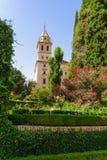 圣玛丽教会,格拉纳达西班牙阿尔罕布拉宫塔。 第17 centu 库存照片