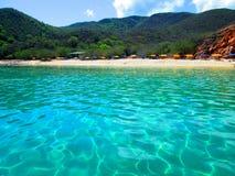 La驳船海滩, Mochima,委内瑞拉 库存图片